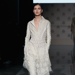 A Rahul Mishra design on the runway in Milan