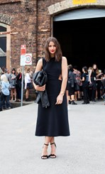 Sara Donaldson wears Josh Goot dress, Isabel Marant heels and YSL cuff
